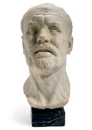 A WHITE MARBLE BUST OF A BLIND