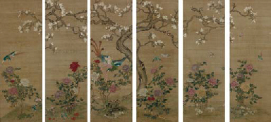 SIX CHINESE PAINTED SILK PANEL