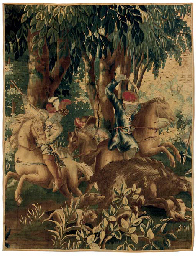 A FLEMISH HUNTING TAPESTRY FRA