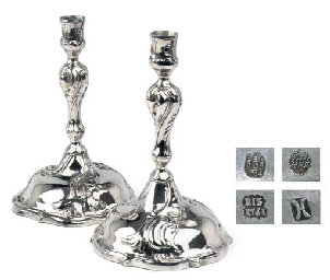 Two Danish silver candlesticks