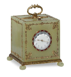 A Rare Silver-Gilt Mounted Bowenite Table Clock