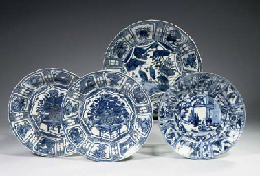 Four late Ming blue and white