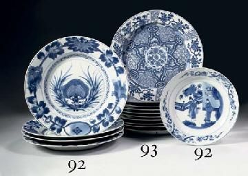 A set of ten blue and white la