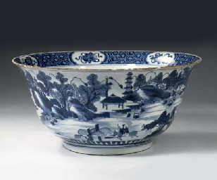A blue and white large bowl