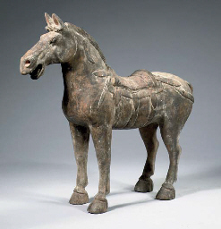 A rare grey pottery figure of