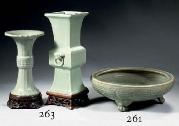 Two celadon glazed vases, gu