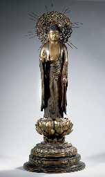 A large Japanese gilt wood fig