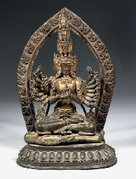 A Nepalese parcel-gilt bronze