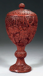 A carved cinnabar lacquer stem