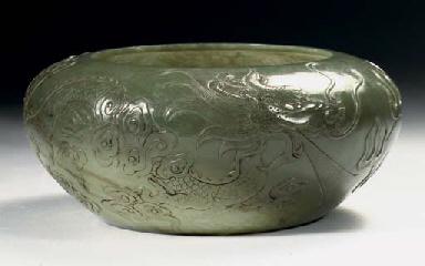 A spinach green jade bowl