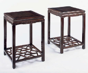 A pair of lacquered hardwood o
