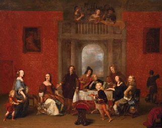 A group portrait of a family in an elegant interior