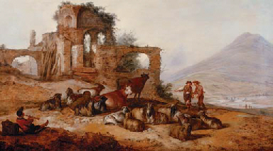 Peasants with livestock by classical ruins in an extensive landscape, with a youth playing a pipe in the foreground