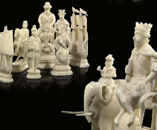 A RUSSIAN CARVED WALRUS IVORY