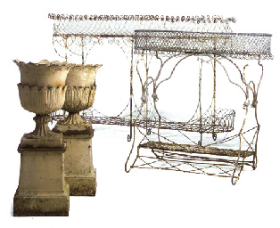 A PAIR OF VICTORIAN CAST-IRON URNS