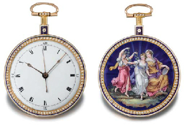 Anon An 18K gold, enamel and pearl-set centre seconds duplex...