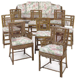 A MATCHED SET OF CHINESE EXPORT BAMBOO SEAT FURNITURE