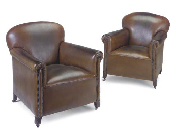 A PAIR OF BROWN LEATHER UPHOLS