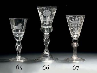 A Dutch-engraved armorial goblet