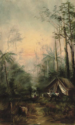 Settlers camp scene; and Settl