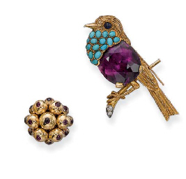 AN AMETHYST AND TURQUOISE BIRD BROOCH, BY CARTIER AND A RETR...