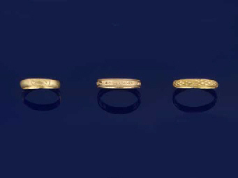 TWO 17TH CENTURY GOLD 'MEMENTO MORI RINGS AND A 17TH CENTURY...