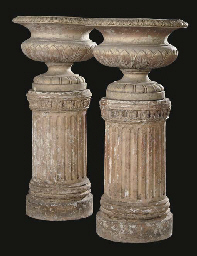 A PAIR OF SCOTTISH TERRACOTTA URNS