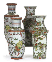 A PAIR OF CHINESE FAMILLE VERT SQUARE VASES AND A PAIR OF CH...