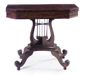 AN AMERICAN MAHOGANY FOLD OVER GAMES TABLE WITH LYRE FORM SU...