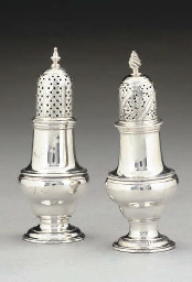 TWO GEORGE III SILVER CASTERS
