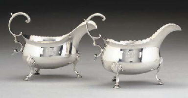 A MATCHED PAIR OF GEORGE III SILVER SAUCEBOATS