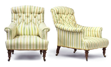 A PAIR OF MID-VICTORIAN WALNUT EASY ARMCHAIRS