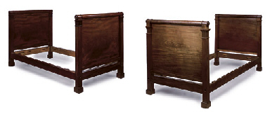 A PAIR OF SCOTTISH MAHOGANY SINGLE BEDS