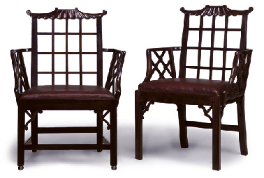 A PAIR OF CHINESE EXPORT PADOUK PAGODA OPEN ARMCHAIRS