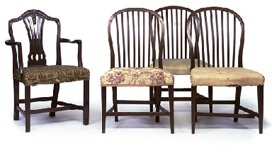 A SET OF THREE SCOTTISH GEORGE III MAHOGANY DINING CHAIRS AN...