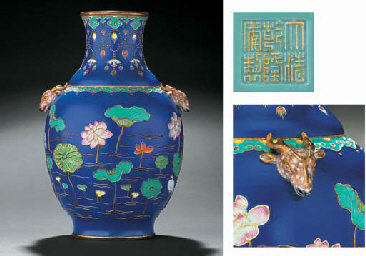 AN EXTREMELY RARE FAMILLE ROSE FAHUA-STYLE VASE