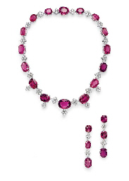 A SUITE OF PINK TOURMALINE AND DIAMOND JEWELRY