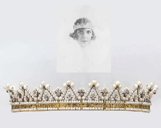 AN ANTIQUE PEARL AND DIAMOND TIARA