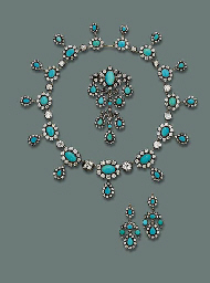 A FINE ANTIQUE TURQUOISE AND DIAMOND PARURE