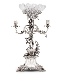 A VICTORIAN SILVER THREE-LIGHT CANDELABRUM CENTREPIECE