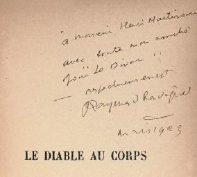RADIGUET, Raymond (1903-1923) Le diable au corps Paris: Bern...