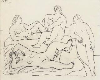 Groupe de quatre baigneuses