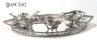 A large dutch silver tray, two braziers, a wood spoonbox and...