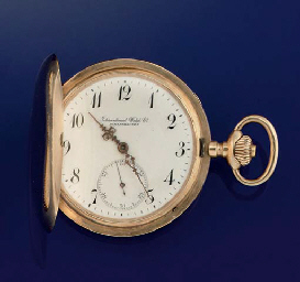 A gold hunting cased pocket watch, by International Watch Co...