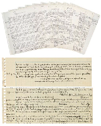 BORGES, Jorge Luis (1899-1986). Autograph working manuscript draft for 'Historia del Tango', [probably before 1953], 10 numbered pages, 4to, on graph paper (removed from spiral-bound notebook).