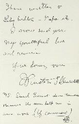 CHURCHILL, Sir Winston Spencer (1874-1965) Autograph letter ...