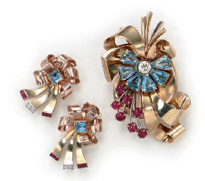 A SET OF RETRO RUBY, AQUAMARINE, DIAMOND AND GOLD JEWELRY