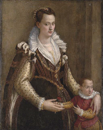 Portrait of a lady with a chil