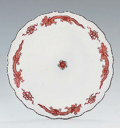 A MEISSEN RED-DRAGON PATTERN PLATE