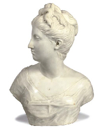 A FRENCH WHITE-MARBLE BUST OF A LADY